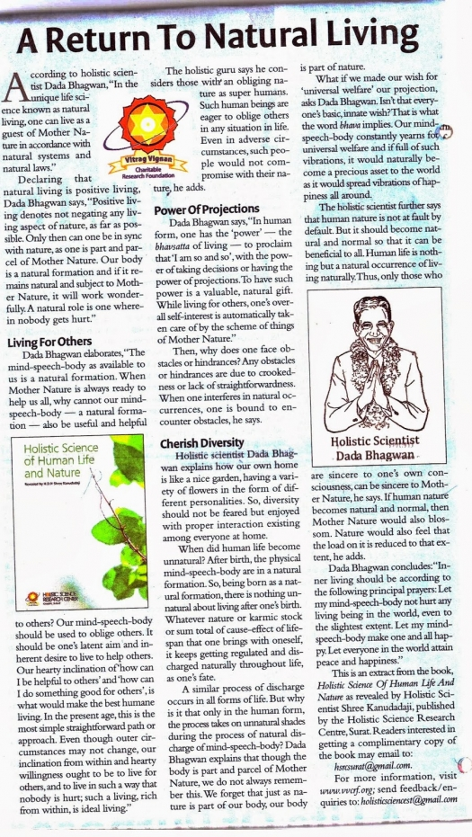 A Return to Natural Living published on 29th Sept 2013 in Speaking Tree